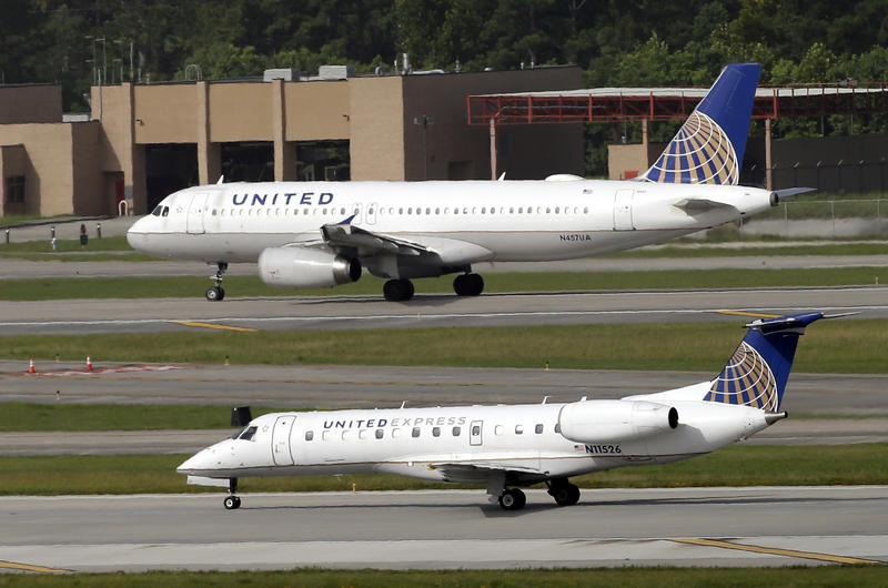 United Airlines and United Express planes prepare to takeoff at George Bush Intercontinental Airport in Houston.