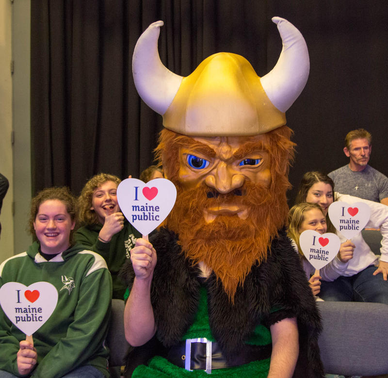 The Oxford Hills Viking and students love Maine Public!