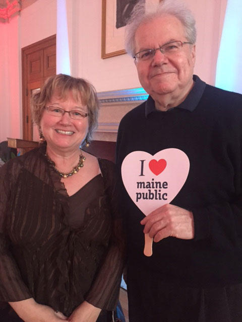 Robin Rilette and pianist Emanuel Ax share a Maine Public moment.