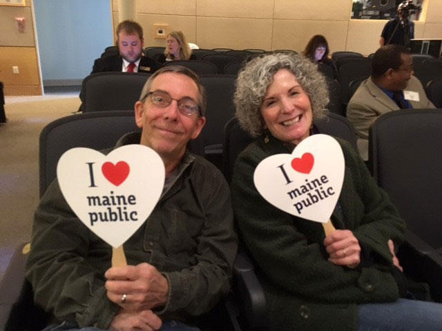 The Maine Calling audience at USM's Hannaford Hall takes a moment to express their appreciation for Maine Public.