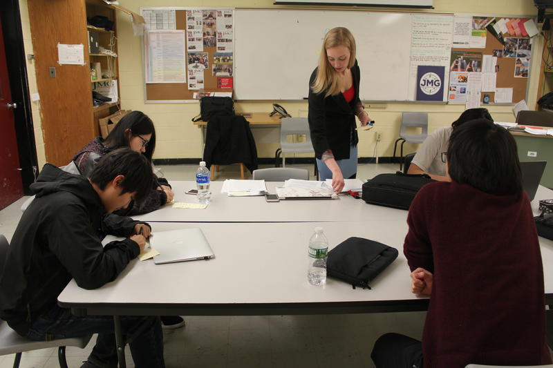 Chelsie Crane teaches many of the international students at Dexter Regional High School in Dexter, Maine. The school has created a partnership with a school in Suzhou, China to bring over seniors each year.