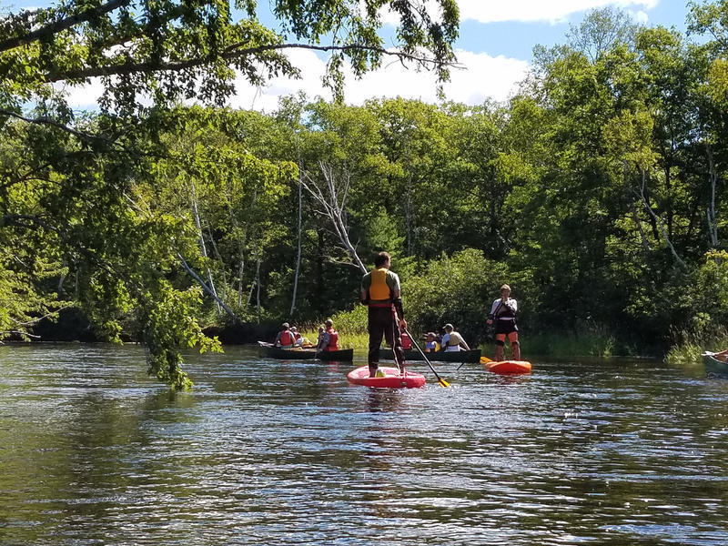 Boaters, in August of 2016, paddle the East Branch of the Penobscot River, which cuts through Katahdin Woods and Waters.