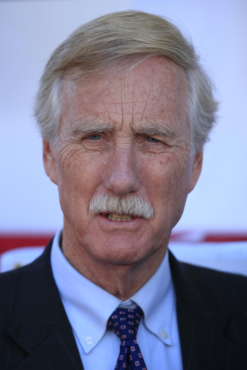 FILE: Sen. Angus King I-Maine, attends the christening ceremony for the USS Raphael Peralta, the 35th Arleigh Burke Class Missile Destroyer to be built by Bath Iron Works, Saturday, Oct. 31, 2015, in Bath, Maine.