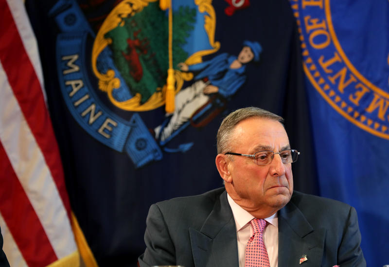FILE: Maine Gov. Paul LePage pauses during a meeting to discuss the state's efforts to fight the opioid epidemic, Wednesday, May 10, 2017, at the State House in Augusta, Maine.