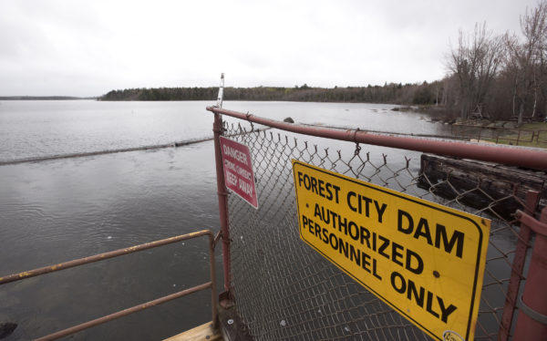 The Forest City dam on East Grand Lake. The dam's owner filed papers to surrender it's license to operate the dam & decommission the project. The decommissioning of the dam could possibly result in the permanent drop in water level of East Grand Lake.