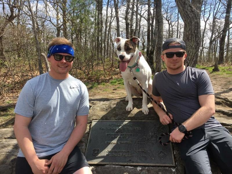 Dan Giguere (from left), Daisy and Danny Moody on the trail.