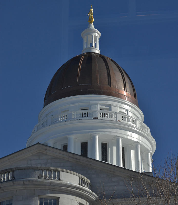 The Maine State House dome, seen in January of 2015.