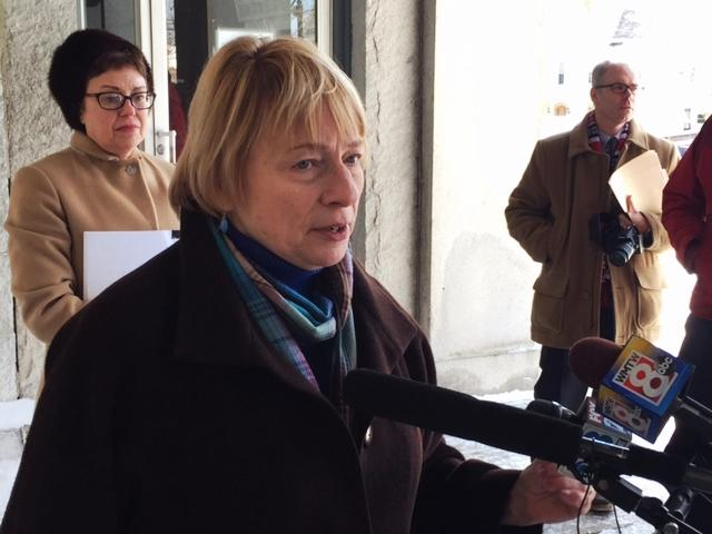 Maine Attorney General Janet Mills at a press event in 2015.
