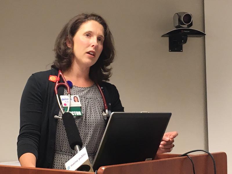 Dr. Sam Zager, obstetrics nurse Jaime Johnson, Dr. Elizabeth Rothe and Dr. Chuck Radis, spoke at a press conference at Central Maine Medical Center on Friday morning.