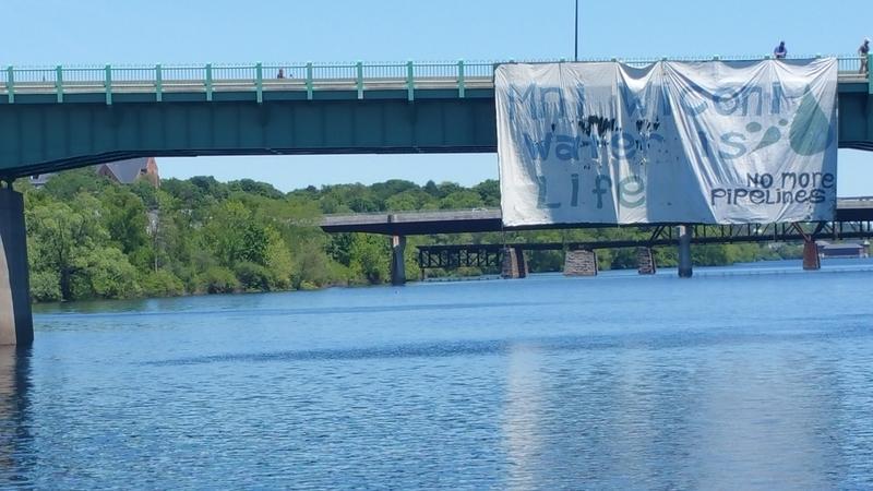 A banners were hung over the Joshua Chamberlain Bridge.