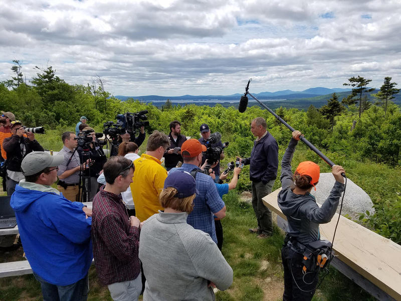 Zinke addresses the media after a tour of the Katahdin Woods and Waters National Monument last Thursday.