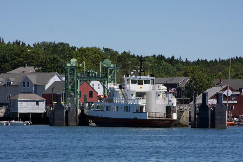 Ferry docked at island off the coast of Maine on August 11, 2013.