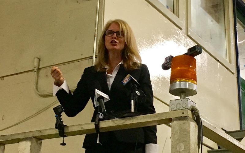Former Maine DHHS Commissioner Mary Mayhew announces that she's making a run for governor in 2018, at an event in Lisbon Tuesday morning.