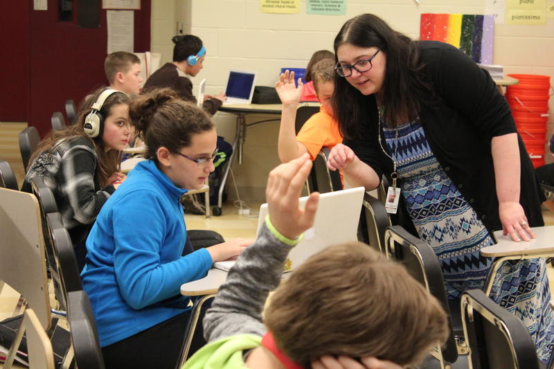 Gorham Middle School music teacher Tracy Williamson has embraced computers in her music class. Students create their own musical compositions using rhythms and online melodies with their computers.