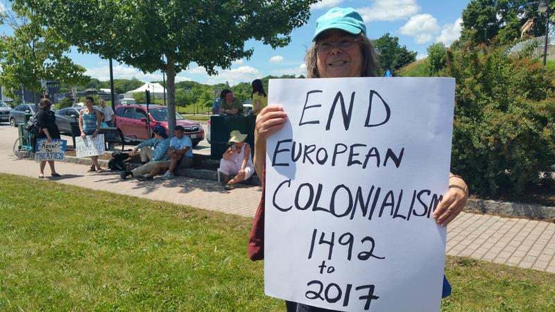 Tina Malcolmson of Portland, one of about 150 people who came to Sunday's gathering to support the Penobscot Nation.