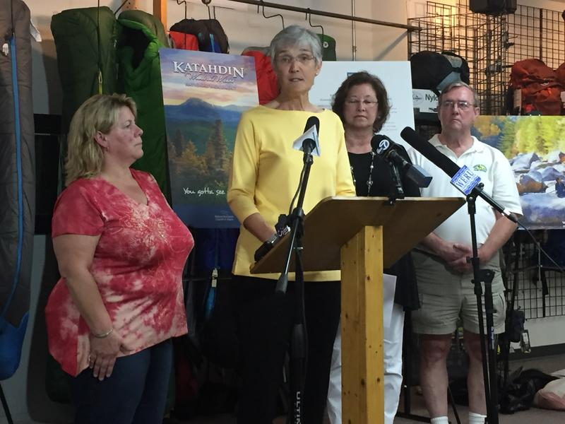 NRCM Executive Director Lisa Pohlmann discusses responses to a federal review on the Katahdin Woods and Waters National Monument in Bangor on Friday.