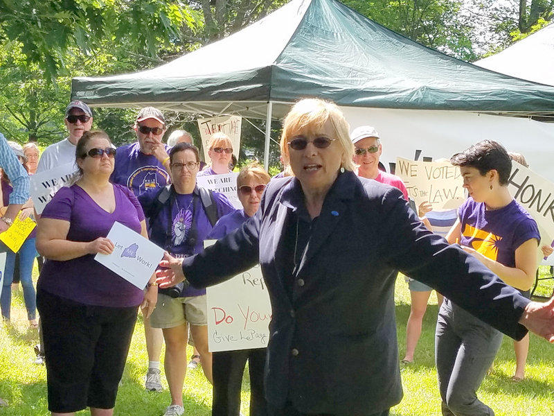 Janet Mills speaks to state workers protesting the Maine government shutdown, in Augusta, July 3, 2017.