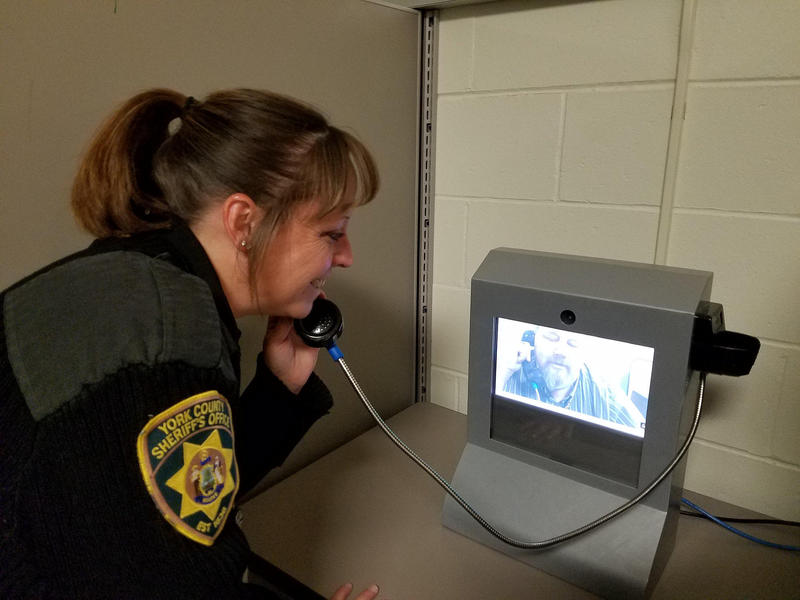 Officer Lori Marks demonstrates video visitation at the York County Jail in January.