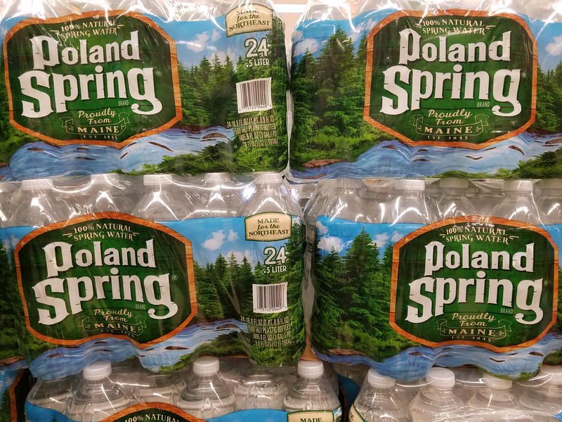 Bottles of Poland Spring water.