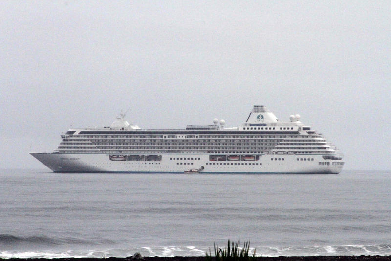 This Aug. 21, 2016, photo shows the luxury cruise ship Crystal Serenity anchored just outside Nome, Alaska. The ship made a port call as it became the largest cruise ship to ever go through the Northwest Passage, en route to New York City.