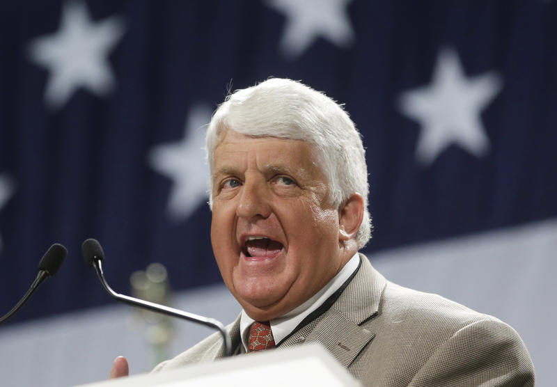 FILE - In this April 26, 2014, file photo, Rep. Rob Bishop, R-Utah, speaks during the Utah Republican Party nominating convention in Sandy, Utah.