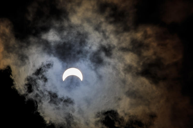 This image was taken at 2:43 pm pm in Lewiston. The peak of the Maine viewing portion of the eclipse was approx. 2:45pm with 60% coverage of the sun by the moon.