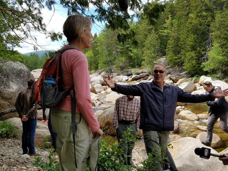 U.S. Interior Secretary Ryan Zinke, arms outstreached, visits the Katahdin Woods and Waters National Monument in June 2017.