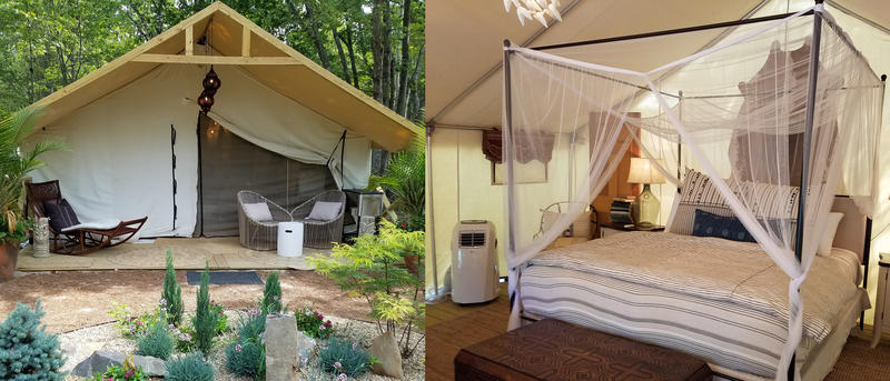 Glamping tents at Sandy Pines Campground in Kennebunkport.