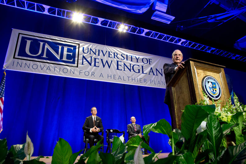 Former U.S. Sen. George Mitchell speaks at UNE on Tuesday.