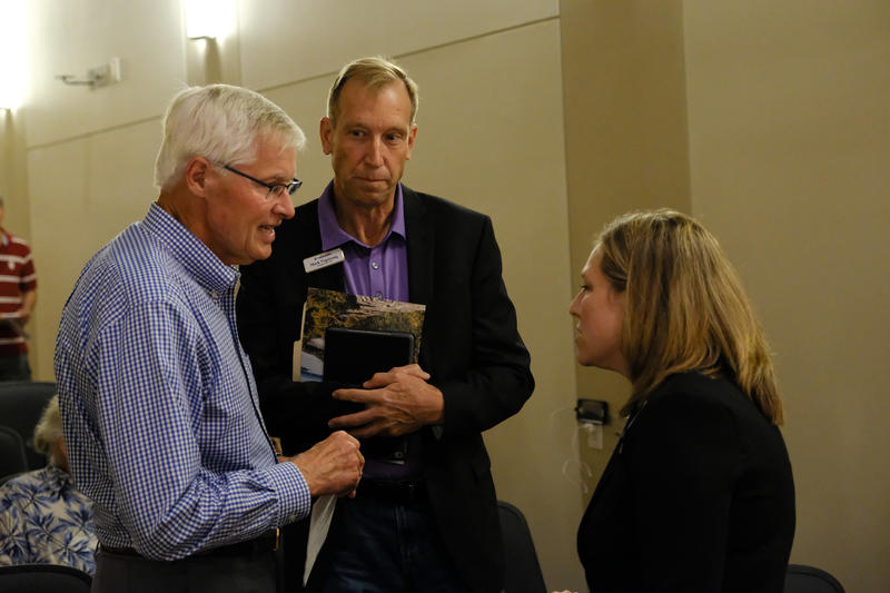 Pictured (from left-to-right): Ron Bancroft, Chairman of Maine Public's Board of Trustees; Mark Vogelzang, CEO of Maine Public and Adria Horn, Moderator.