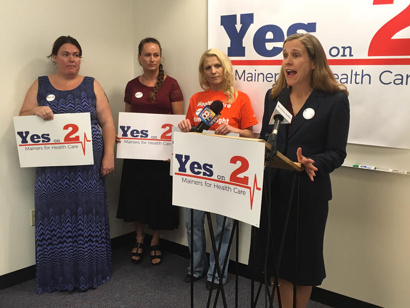 Robyn Merrill (right) of Mainers for Health Care at a Wednesday press conference.