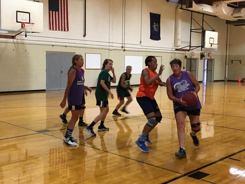 Ellen McKenzie guards Lana Merchant during a recent Maine Senior Women's Basketball practice.
