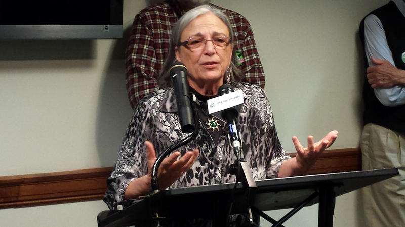 Green Party candidate Betsy Marsano announces her run for the Blaine House at an Augusta news conference Tuesday.