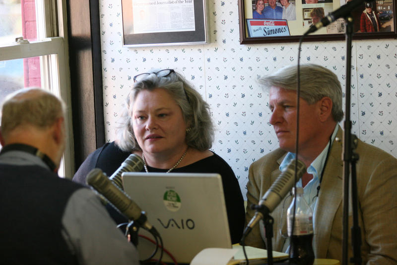 Irwin Gratz, back to camera, talks with Brenda Garrand and Sam Surprise at Simones' hot dog stand in Lewiston in 2010.