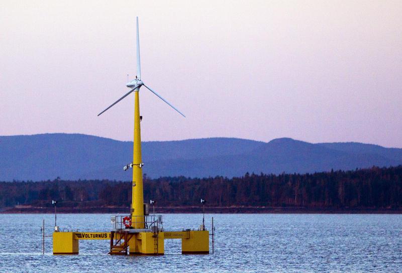 The University of Maine's prototype wind turbine generator off the coast of Castine in 2013.