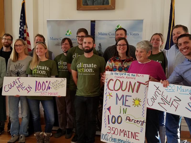 Climate activists in Portland City Hall on Tuesday.
