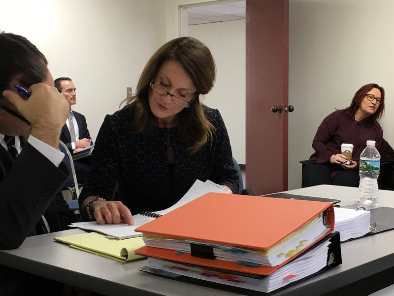 Augusta lobbyist Cheryl Timberlake consults with her attorney Avery Day during an Ethics Commission hearing about the funding sources behind Question 1.