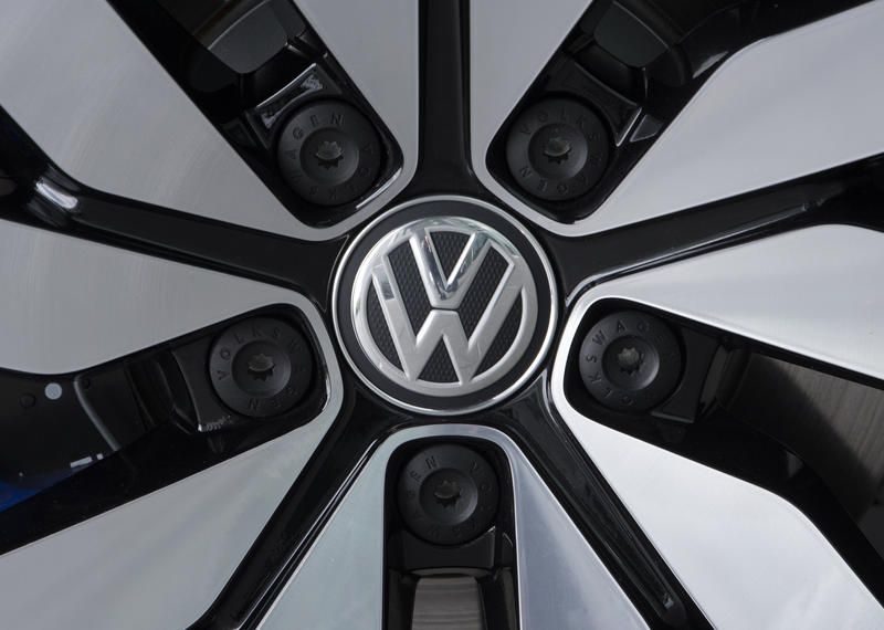 In this April 28, 2017 file photo an e-Golf electric car with the VW logo on a rim is pictured in the German car manufacturer Volkswagen Transparent Factory (Glaeserne Manufaktur) in Dresden, eastern Germany.