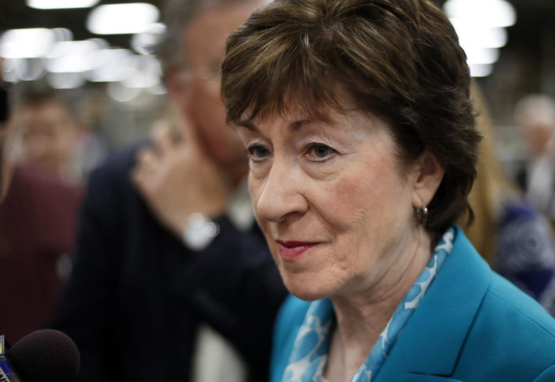In this Aug. 17, 2017, file photo, Sen. Susan Collins, R-Maine, takes a question from a reporter while attending an event in Lewiston, Maine.