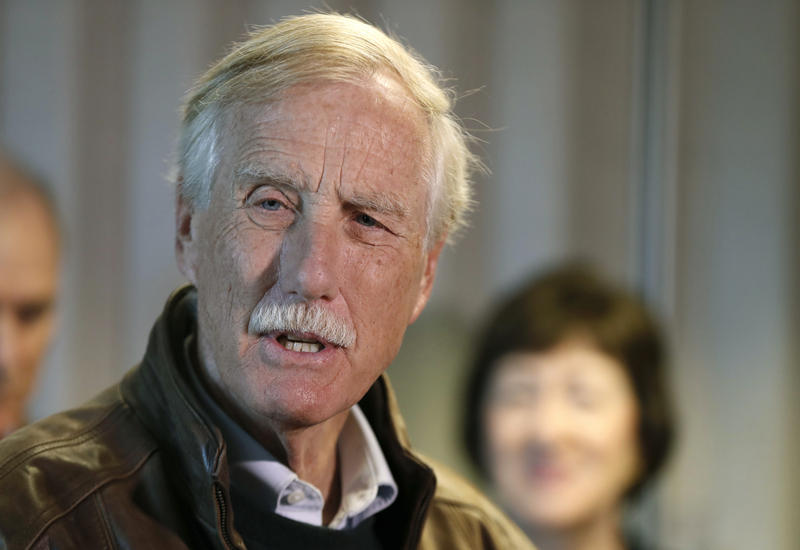 Angus King at Bath Iron Works in September.