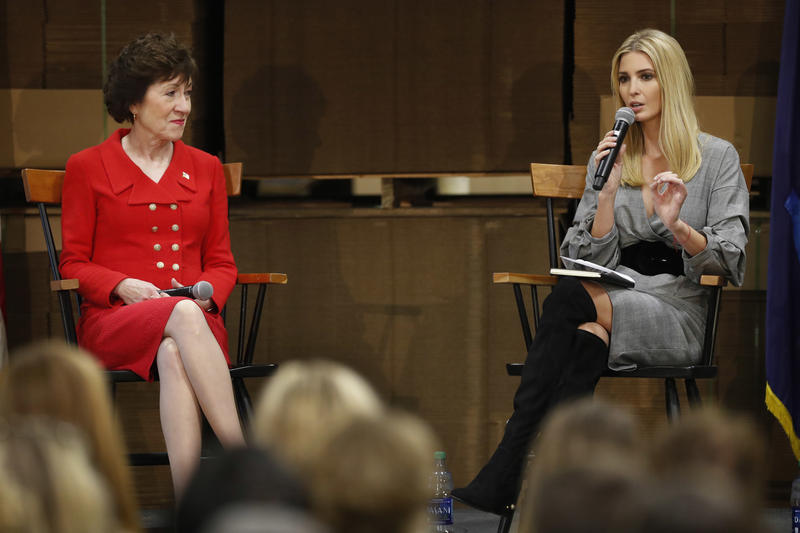 White House advisor Ivanka Trump (right) speaks about tax reform at a forum with U.S. Sen. Susan Collins at Volk Packaging, Friday, Nov. 10, 2017, in Biddeford.