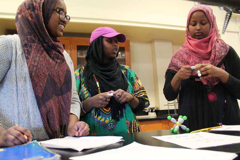Students Bilan Mohamed (from left), Mulki Hagi and Deqa Mohamed construct three-dimensional models of molecules inside an AP chemistry class at Portland's Deering High School.