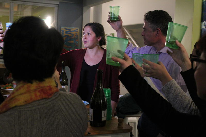 Protect Our Neighborhood Schools co-founder Emily Figdor gives a toast celebrating the passage of Portland's four-school renovation bond.