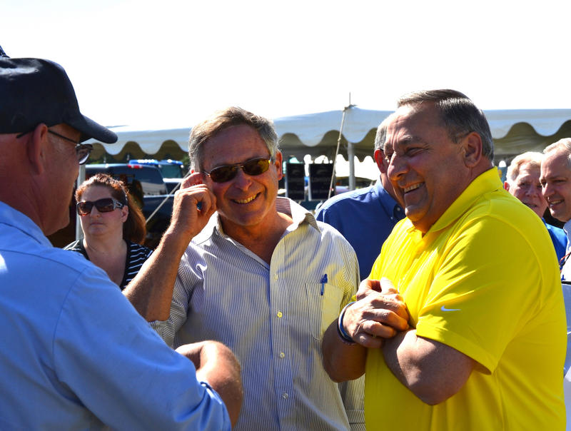 Maine Agriculture Commissioner Walter Whitcomb, center, with Gov. Paul LePage, at the Maine Farm Days celebration in 2014.
