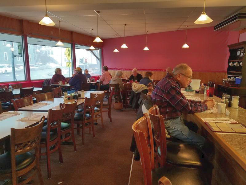 Customers inside Rolly's Diner in Auburn on March 1, 2017.