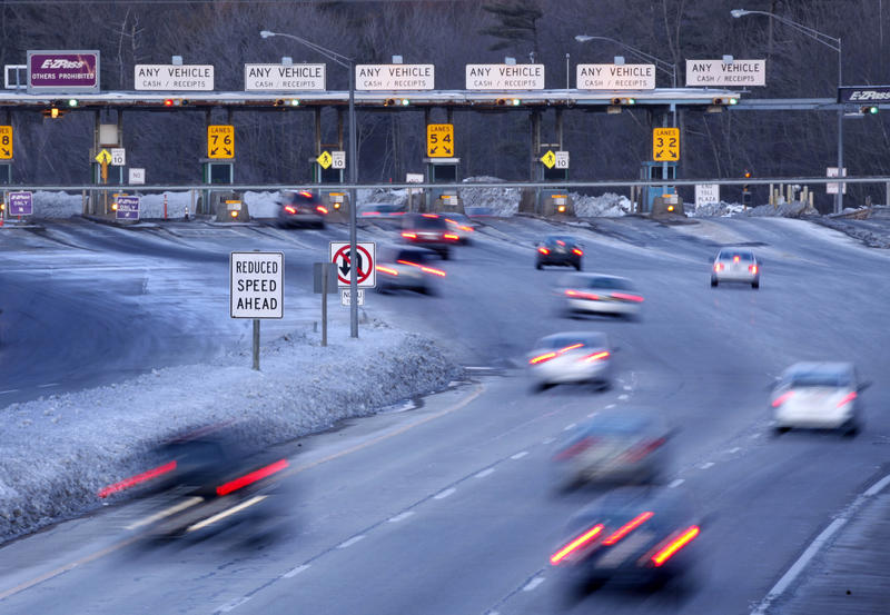 Traffic slows for the York tolls on the Maine Turnpike in Jan. 2009.