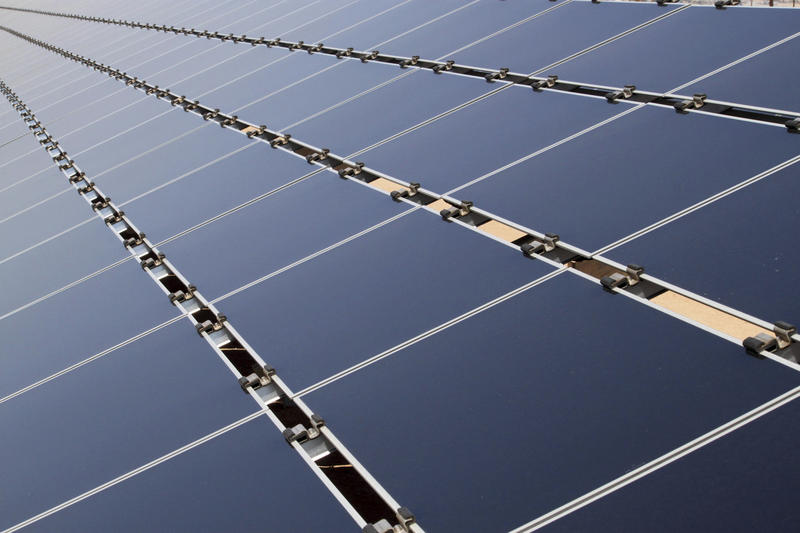 Solar panels in April 2011.