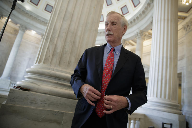 Angus King on Capitol Hill in Washington, Friday, Dec. 1, 2017.