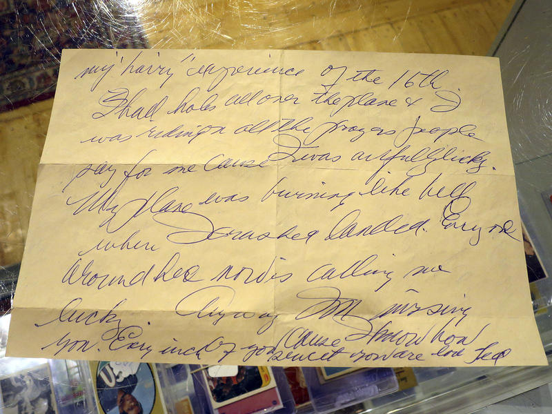 This Dec. 22, 2017, photo shows part of a letter in Biddeford, Maine, written by Boston Red Sox slugger Ted Williams the day after he crash-landed his airplane during the Korean War.