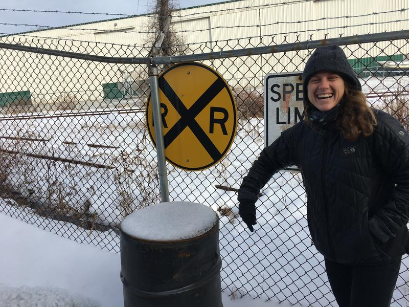 Molly Henry, regional coordinator for the East Coast Greenway Alliance, at the Portland terminus of the proposed new bike and walking path.